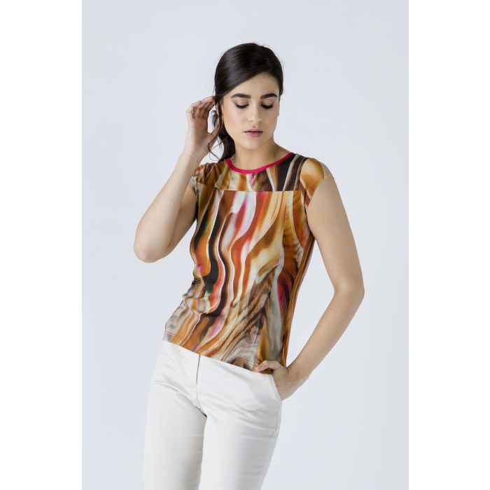 Image for Print Cap Sleeve Top with Trim Detail