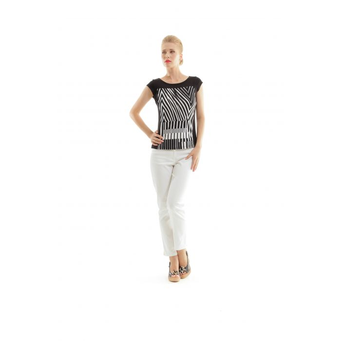 Image for Black and White Geometric Print Top