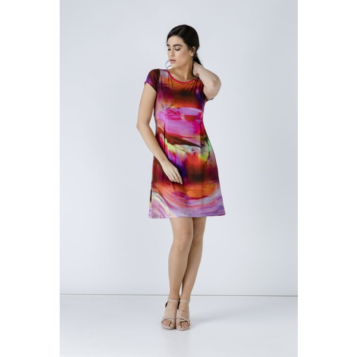 Image for Pleat Detail Print Dress