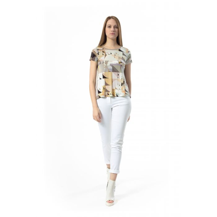 Image for Short-Sleeved Geometric Print Top