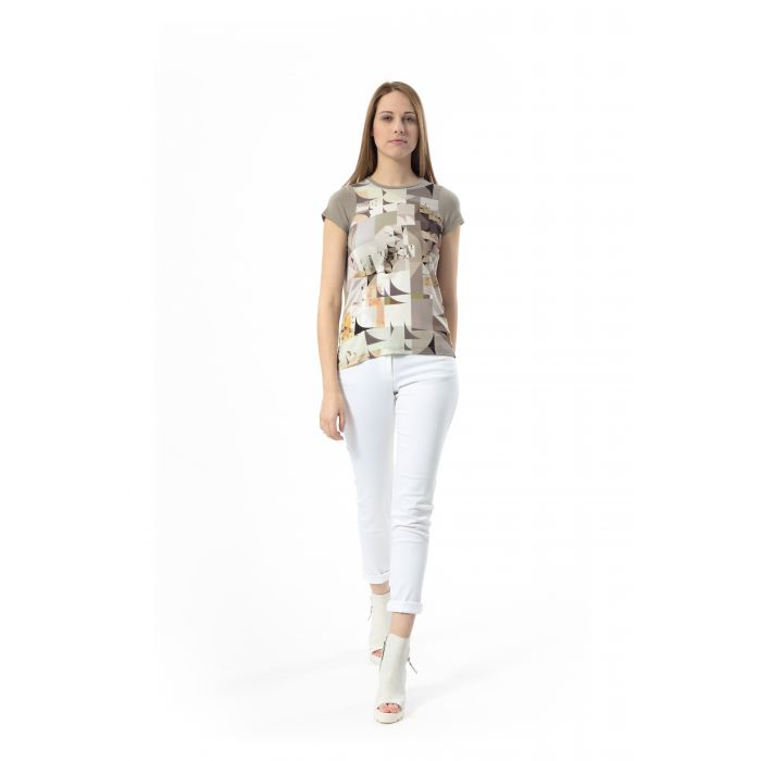 Image for Geometric Print Detail Top