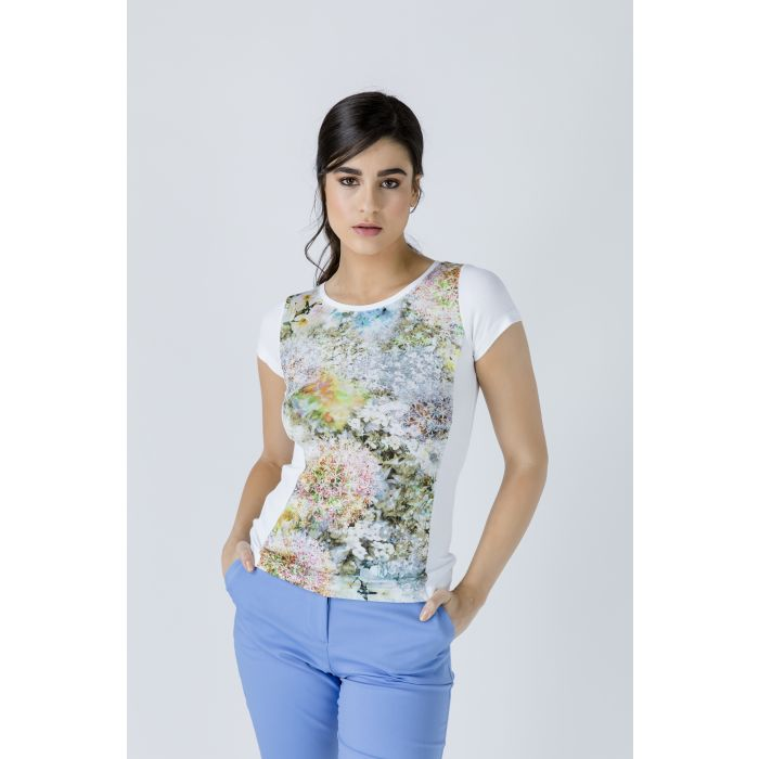 Image for White Short Sleeve Floral Print Top