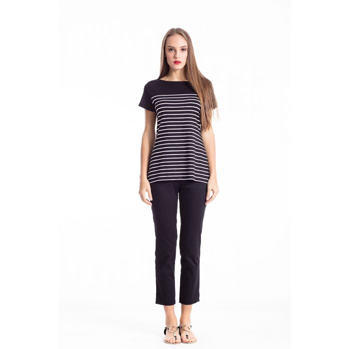 Image for Striped Top with Uneven Hemline