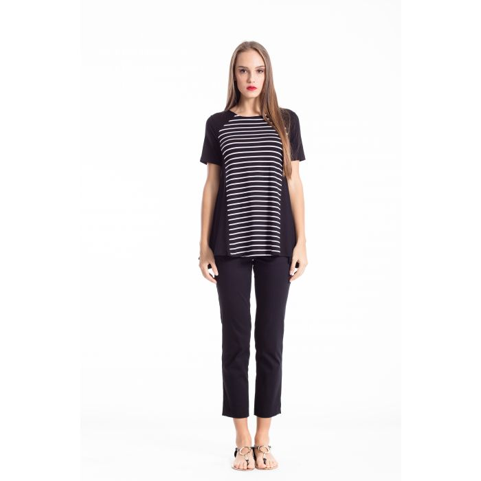 Image for A Line Short Sleeve Striped Top