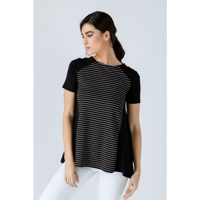 Image for Black Short Sleeve Top with Stripe Detail