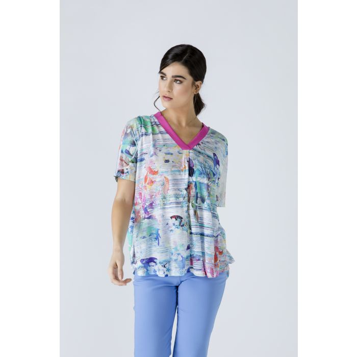Image for Print V Neck Top