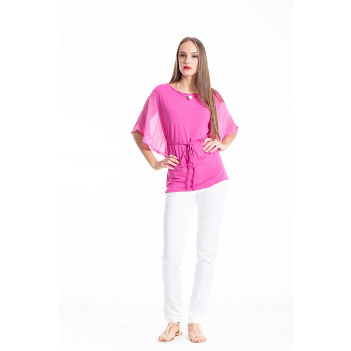 Image for Top with flowing batwing sleeves and a tie waist by Conquista