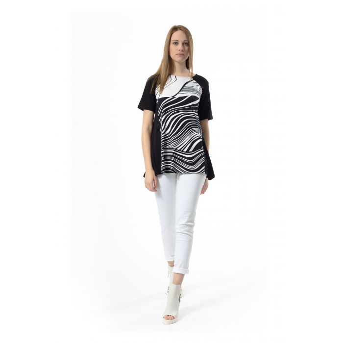 Image for Black and White Print Top