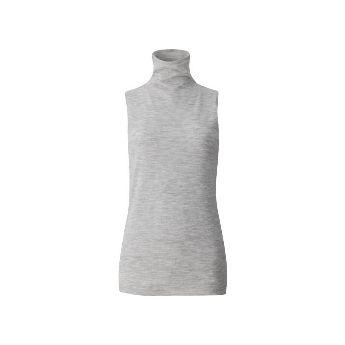 Image for The Palermo grey pure cashmere rollneck sleeveless sweater