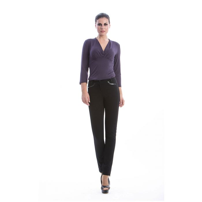 Image for Full Length Pants with Pleather Detail