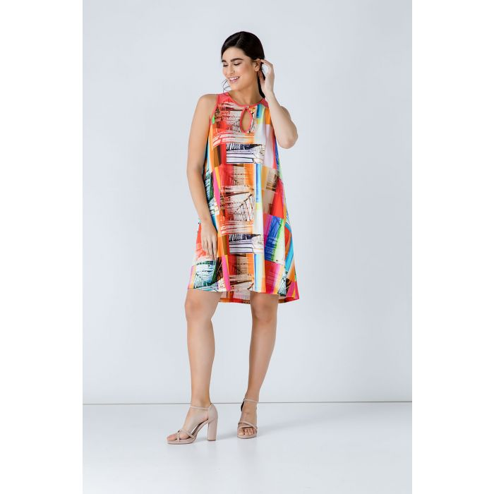 Image for Coral  A Line Print Dress