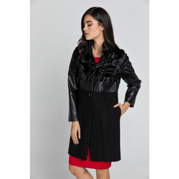 Image for Black Three Fabric Coat Conquista Fashion