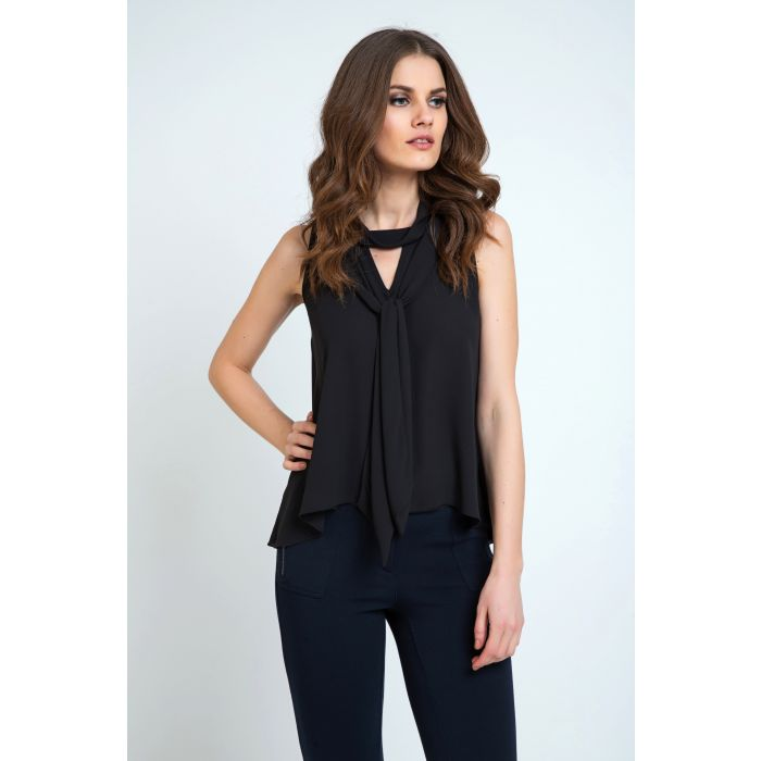 Image for Tie Detail Sleeveless Top Black