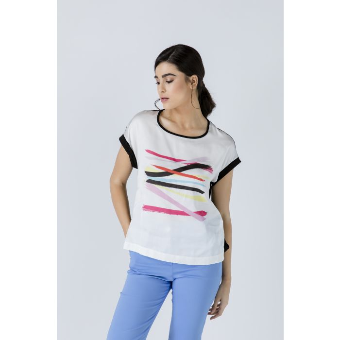 Image for Cap Sleeve Print Top With Print