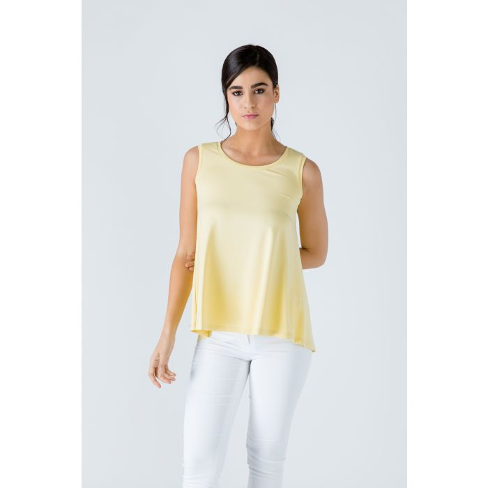 Image for Yellow Sleeveless Top with Rounded Hemline