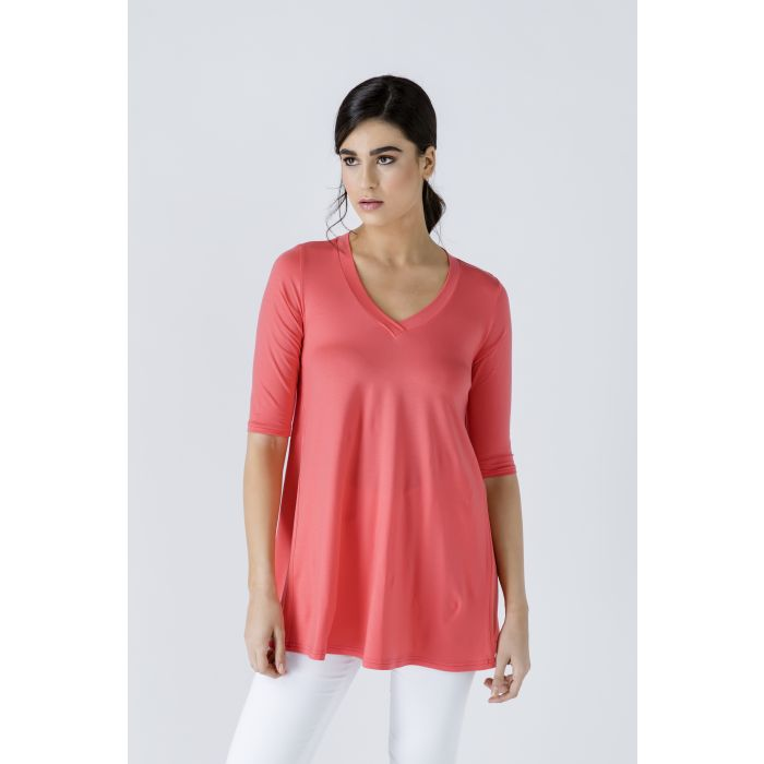 Image for V Neck Top with Crepe Detail