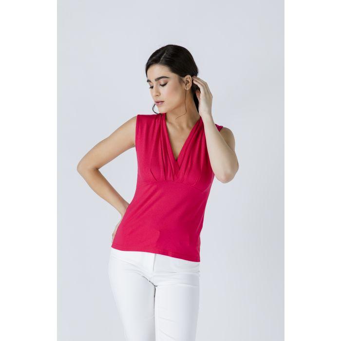 Image for V Neck Sleeveless Red Top