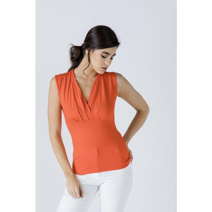 Image for V Neck Sleeveless Orange Top