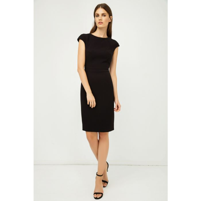 Image for Solid Colour Dress with Cap Sleeves Black Color.