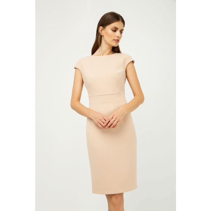 Image for Solid Colour Dress with Cap Sleeves Creme Color.
