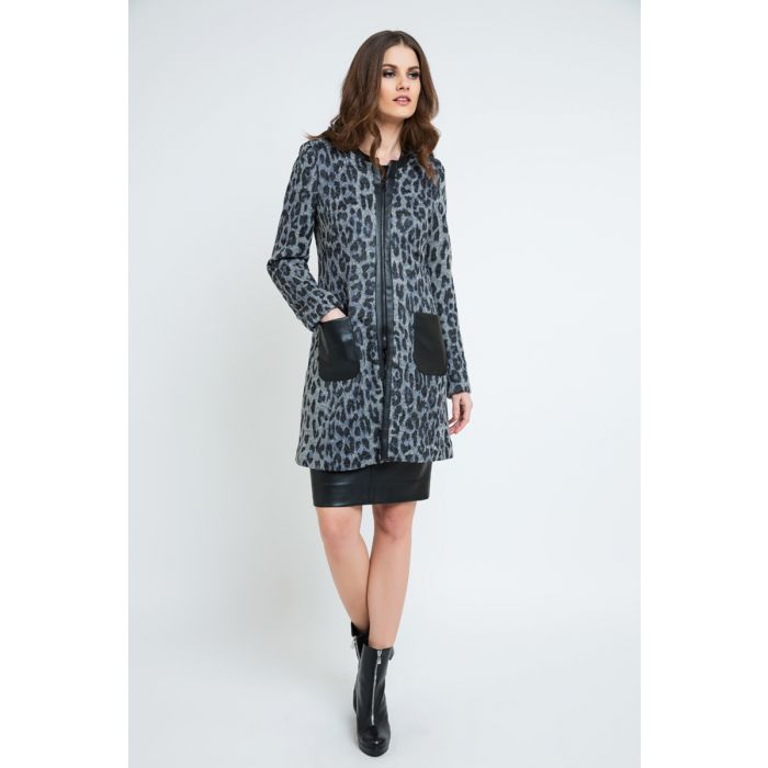 Image for Multi-coloured wool blend animal printed coat