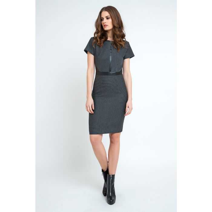 Image for Cap Sleeve Pleather Detail Knit Dress