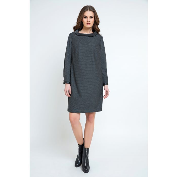 Image for Casual H-line Stand Collar Long Sleeve Midi Dress