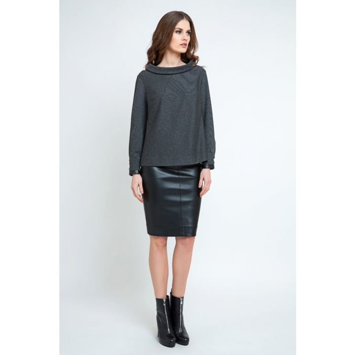 Image for Pleather Detail Long Sleeve Top