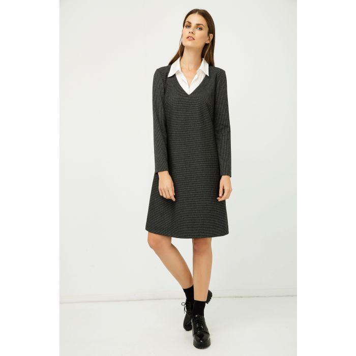 Image for Shirt Collar Detail Dark Striped Grey Dress