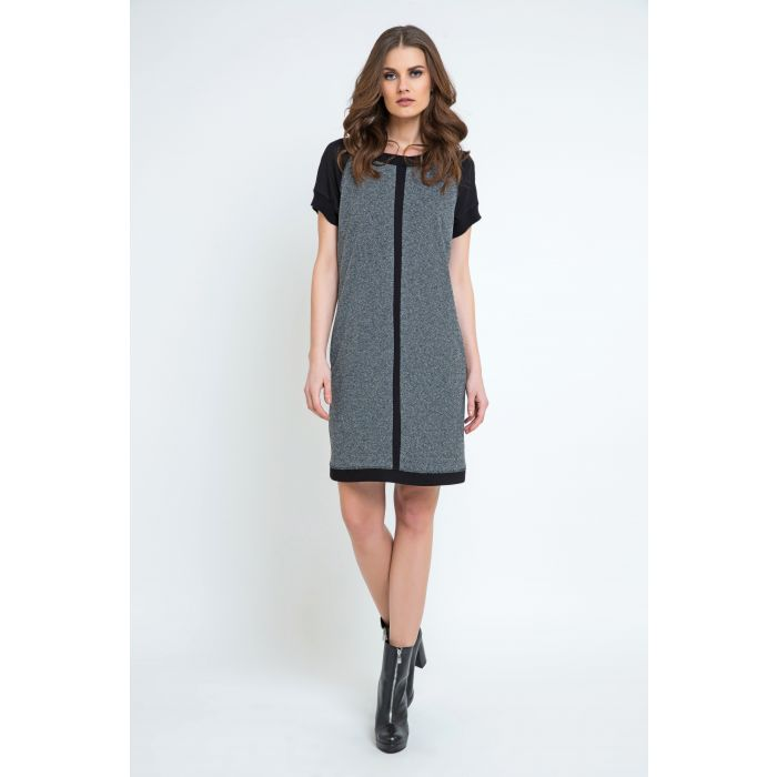 Image for Short Sleeve Dark Grey Dress with Black Sleeves and Panel Detail by Conquista Fashion