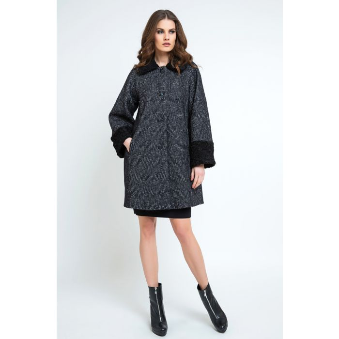 Image for Button Coat with Cuff and Collar Detail