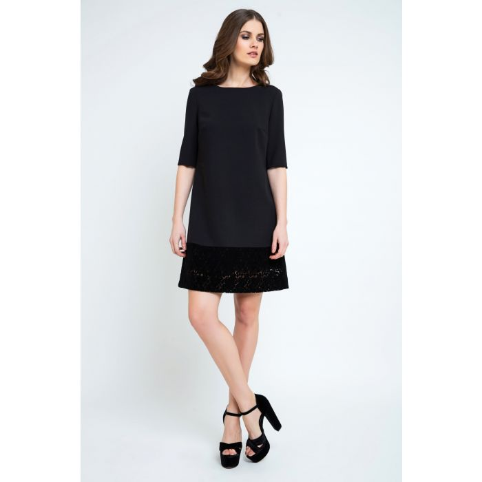 Image for Black A Line Dress with Lace Detail