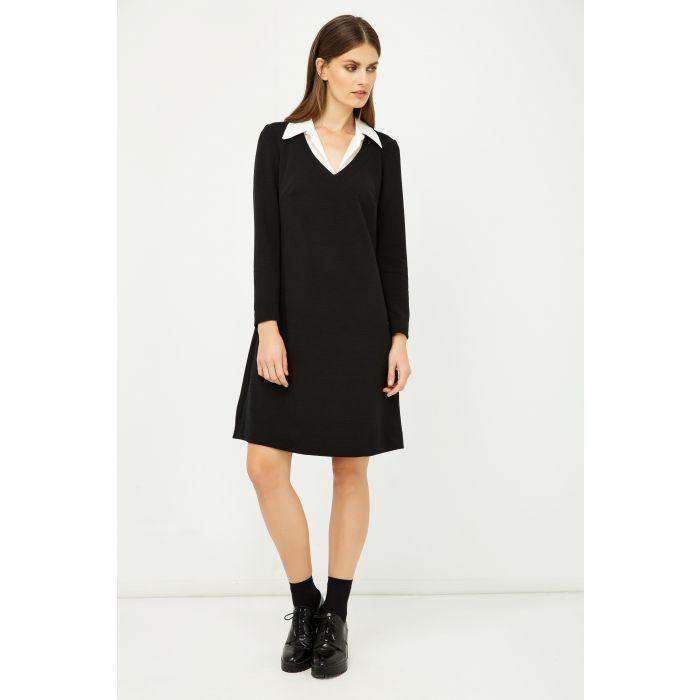 Image for Shirt Collar Detail Black Striped Dress