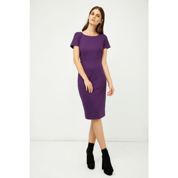 Image for Aubergine Fitted Cap Sleeve Dress