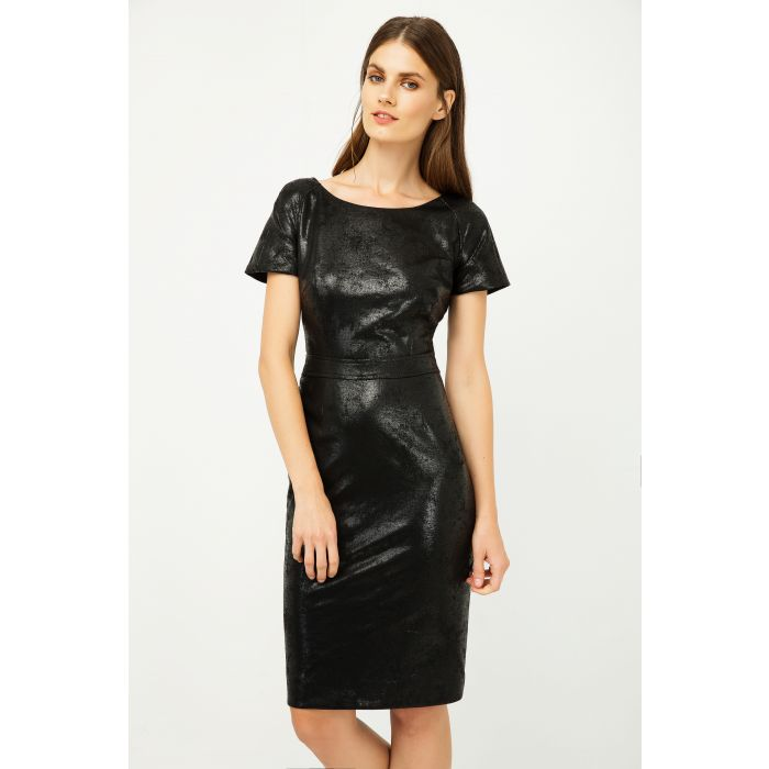 Image for Black Leather Effect Fitted Dress