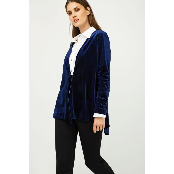 Image for Velvet Cardigan with Ties in Blue