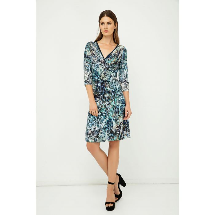 Image for Print Jersey Faux Wrap Dress in Blue