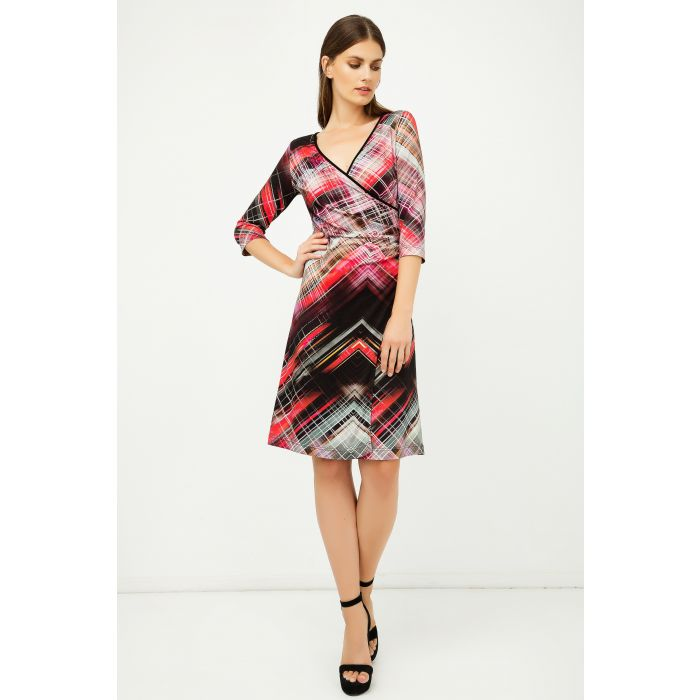 Image for Print Jersey Faux Wrap Dress in Red