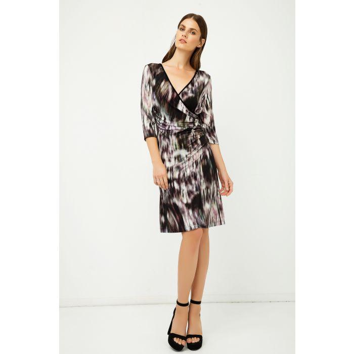 Image for Print Jersey Faux Wrap Dress