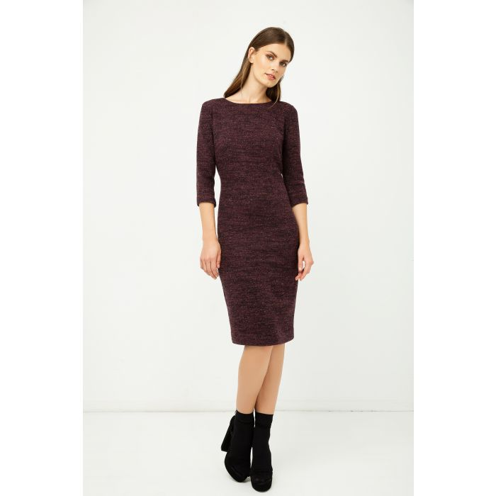 Image for Woollen Aubergine Winter Fitted Dress