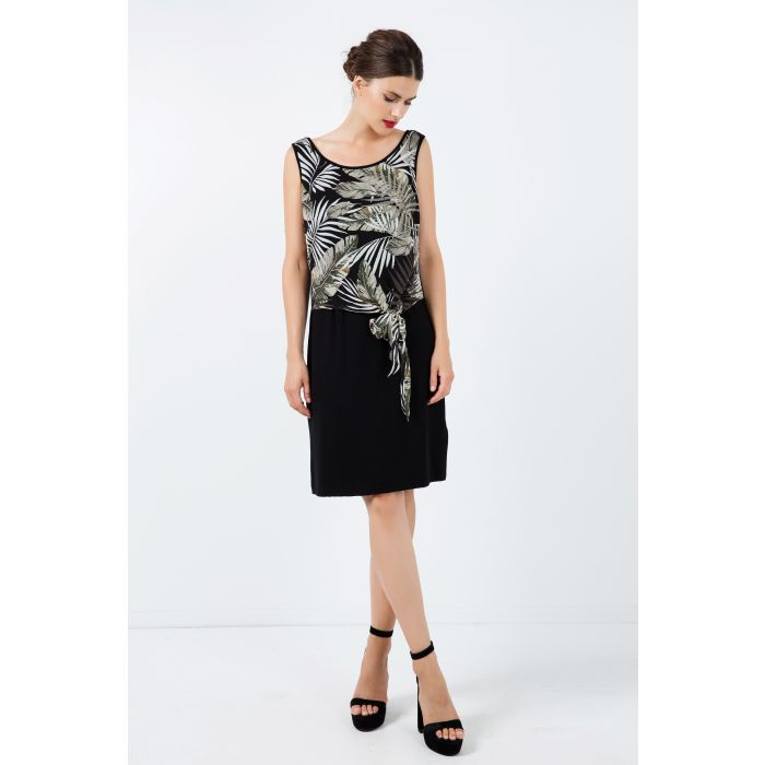 Image for Print Layer Dress with Tie Detail
