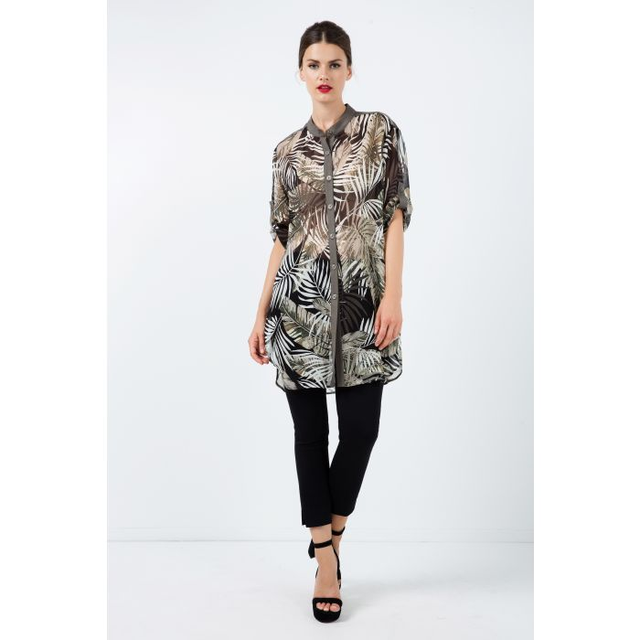Image for Long Print Chiffon Shirt