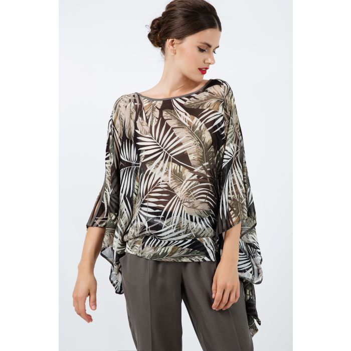 Image for Print Chiffon Batwing Top