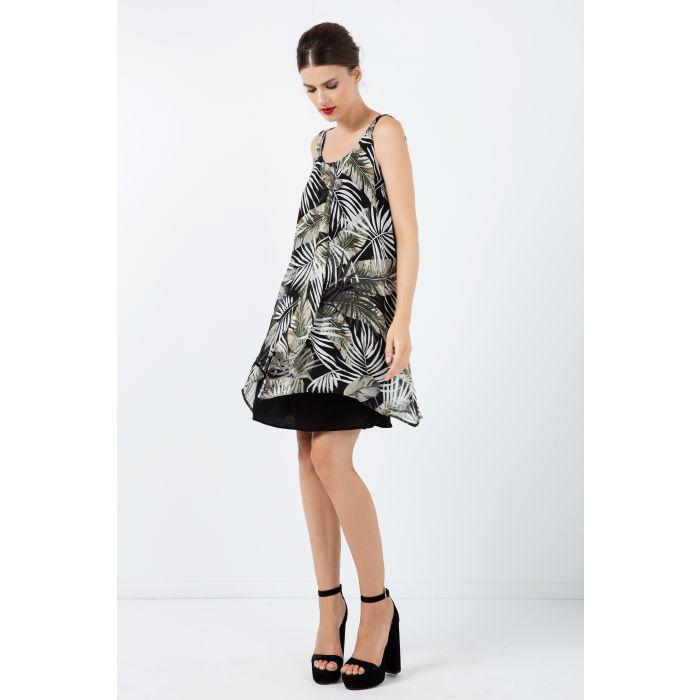 Image for Sleeveless Print Chiffon Dress with Layers