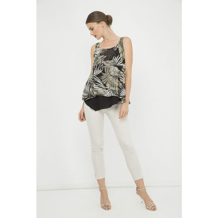 Image for Sleeveless Print Layer Top