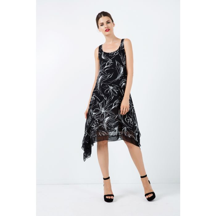 Image for Sleeveless Layer Dress with Net Detail