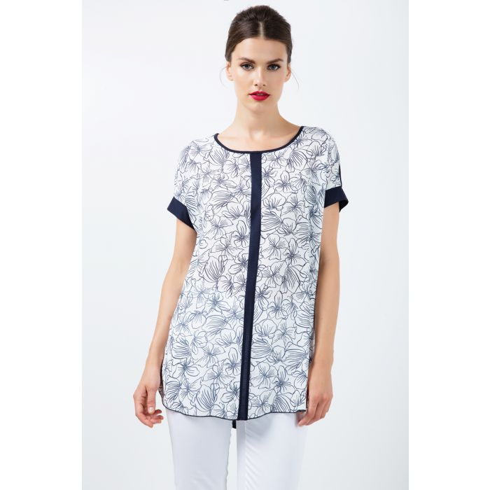 Image for Short Sleeve Panel Detail Floral Top
