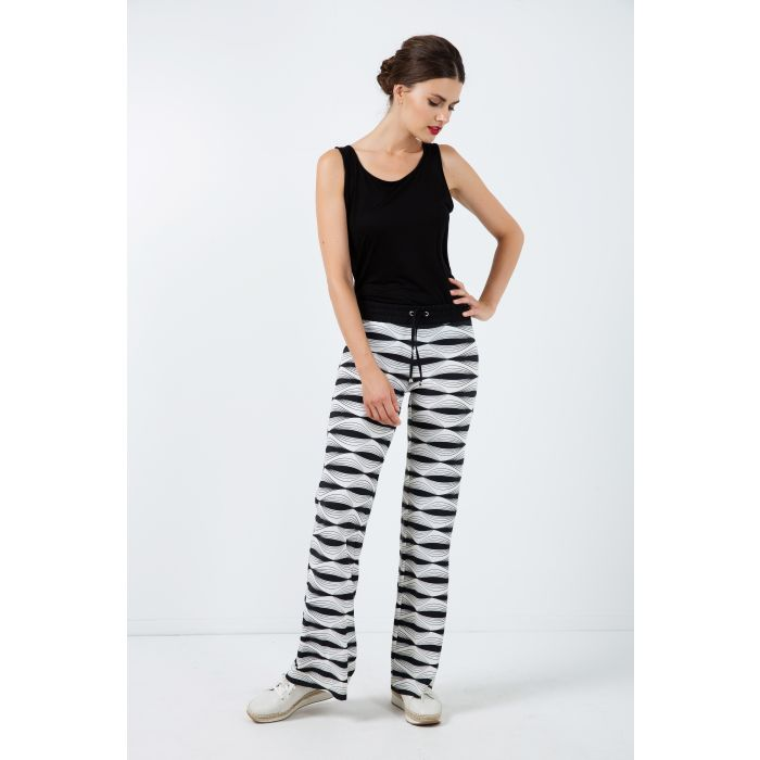 Image for Wide Pants in Stretch Print Fabric