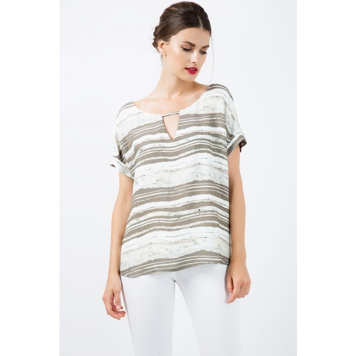 Image for Short Sleeve Striped Keyhole Top