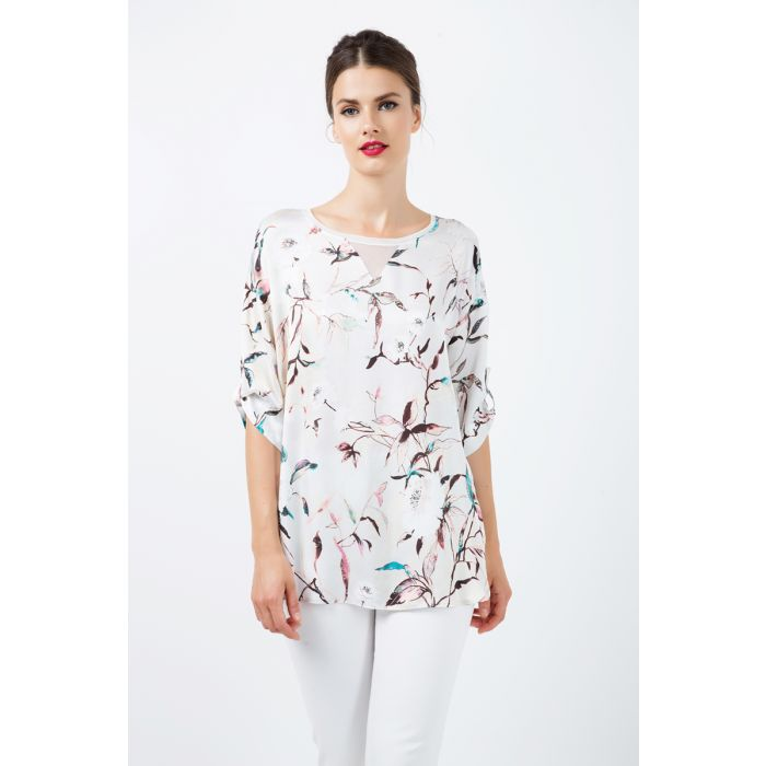 Image for Print Satin Top with V Detail